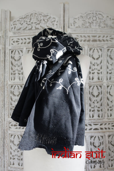 Black wool Indian embroidered shawl - new