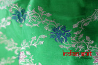 Bright Green Sateen Banarsi Vintage Silk Scarf - New - Indian Suit Company