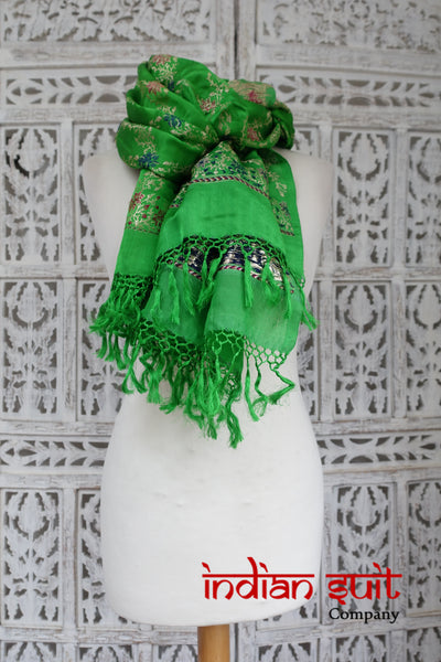 Bright Green Sateen Banarsi Vintage Silk Shawl - New - Indian Suit Company