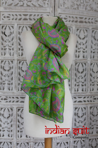 Bright Green Pink Paiseley Printed Silk Shawl - New - Indian Suit Company