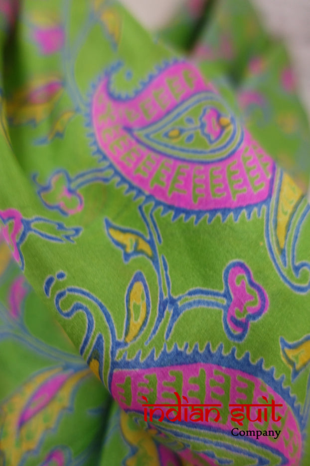 Bright Green Pink Paisley Printed Silk Shawl - New - Indian Suit Company