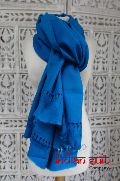 Peacock Blue Wool Shawl - New - Indian Suit Company