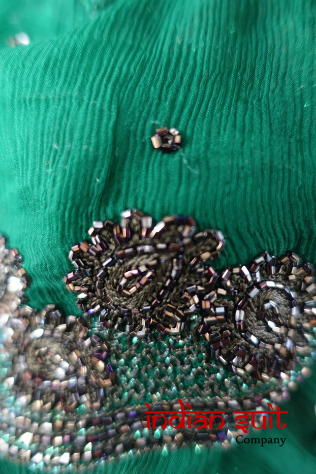 Dark Green Silk Chiffon With Anthracite Beading Scarf - New - Indian Suit Company