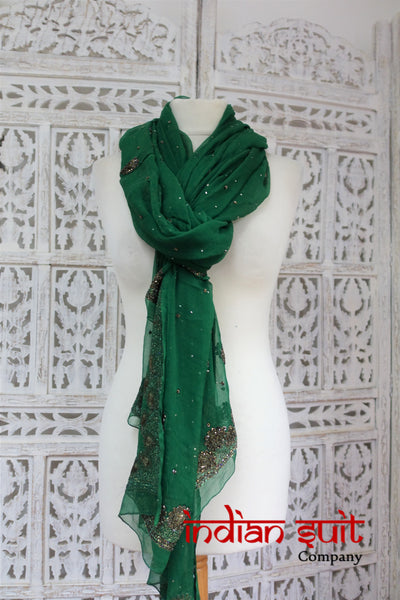 Dark Green Silk Chiffon With Anthracite Beading Shawl - New - Indian Suit Company
