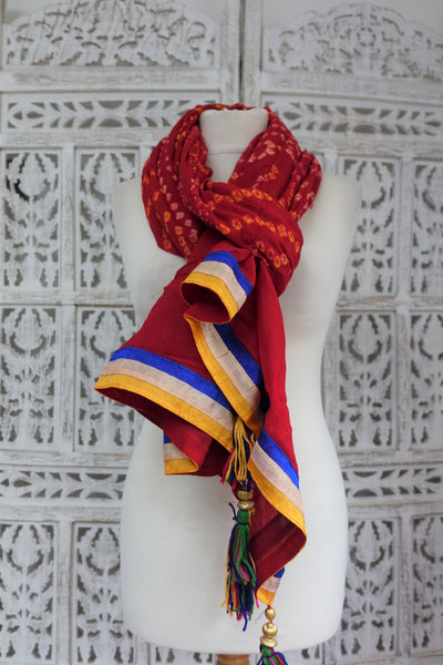 Cotton Bandhani Scarf With Wool Tassels - New - Indian Suit Company