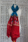 Blue & Red Vintage Silk Chiffon - Preloved - Indian Suit Company