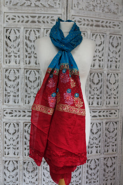 Blue & Red Vintage Silk Chiffon Scarf - Preloved - Indian Suit Company