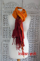Dark Red And Saffron Cotton Shawl - New - Indian Suit Company