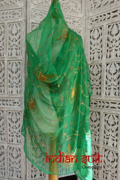 Emerald green vintage silk chiffon shawl - new