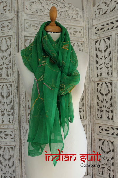 Emerald Green Vintage Silk Chiffon Shawl - New - Indian Suit Company