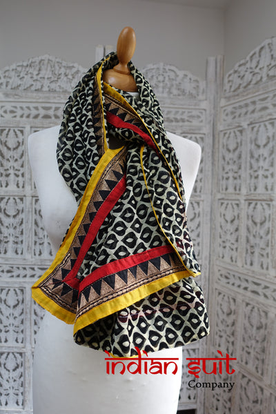 Black White Print Chiffon With Braid Trim - New - Indian Suit Company
