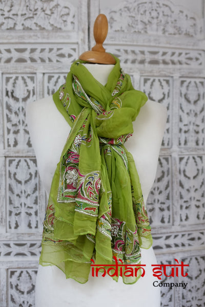 Parrot Green Chiffon Vintage Shawl - Preloved