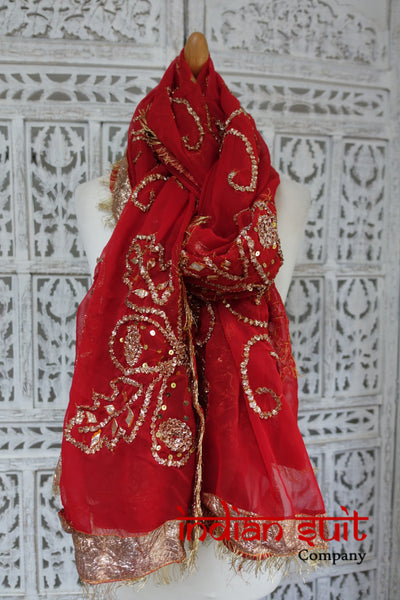 Red Vintage Gota Chiffon Wedding Shawl - Preloved - Indian Suit Company