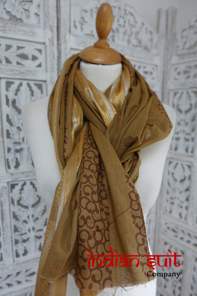 Caramel Cotton Shawl - New - Indian Suit Company