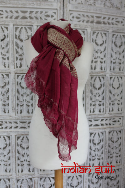 Raspberry Red Vintage Silk Chiffon scarf - Preloved - Indian Suit Company