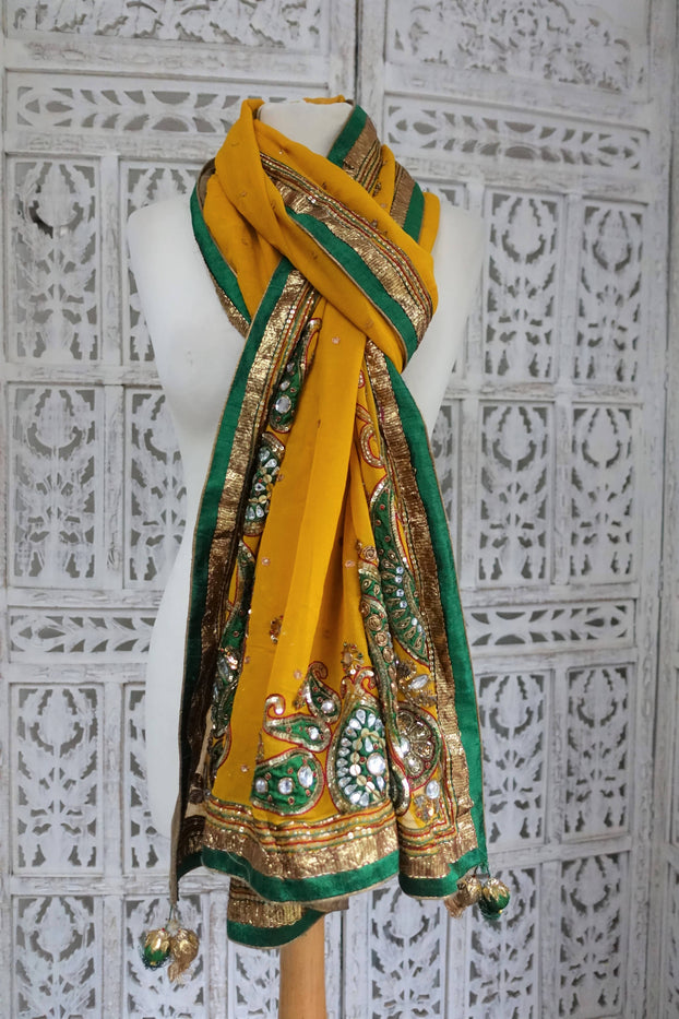 Ochre Embellished Silk Scarf - Preloved - Indian Suit Company
