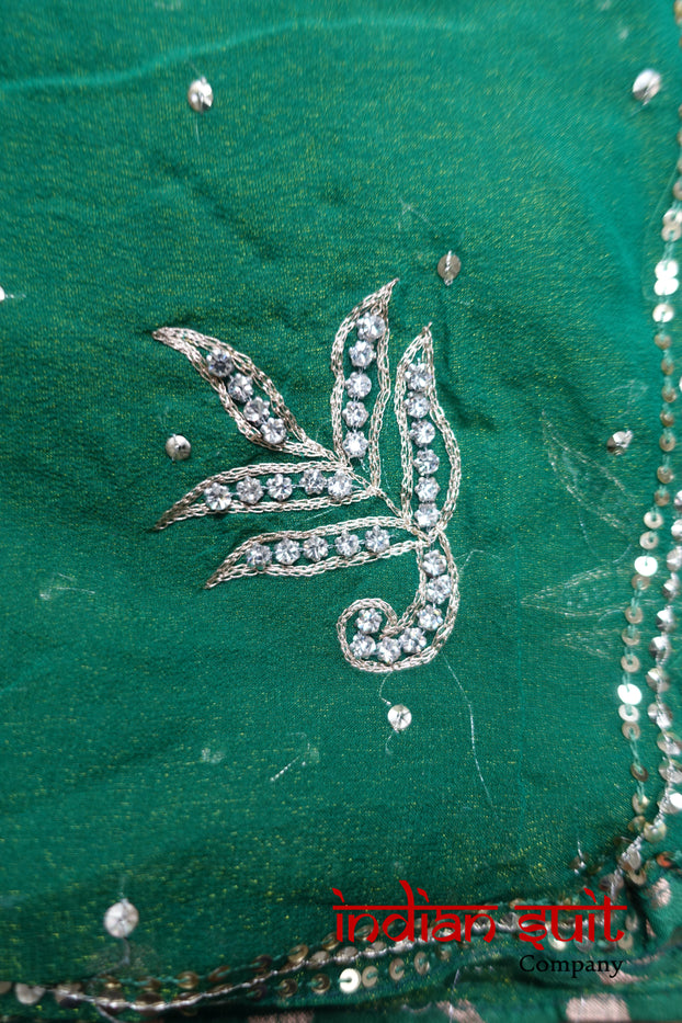Dark Green Shimmering Chiffon Scarf - New - Indian Suit Company