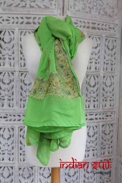 Parrot Green Silk Shawl - Preloved - Indian Suit Company