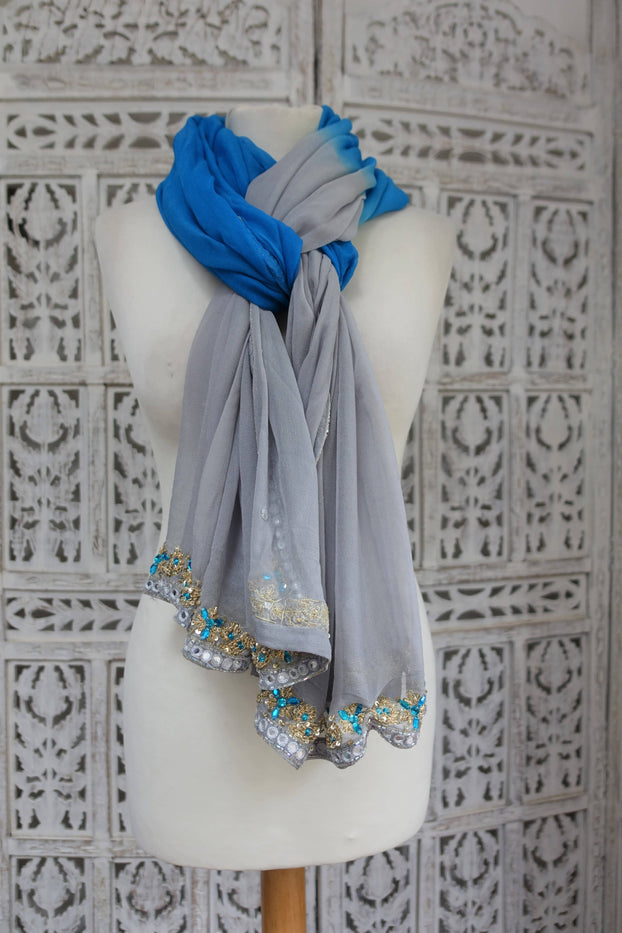 Grey & Blue Mirror Trimmed Chiffon Scarf - Preloved - Indian Suit Company