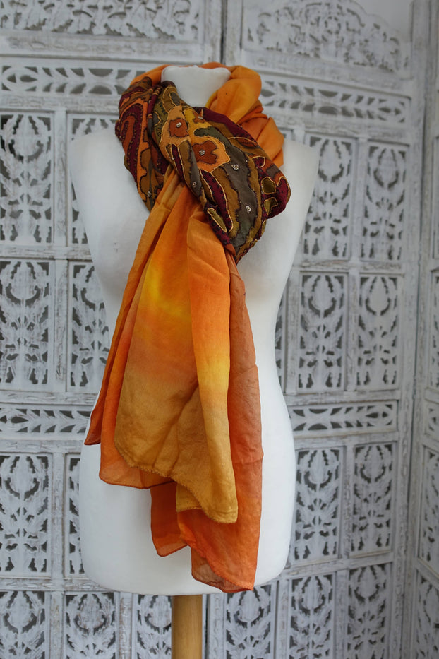 Mustard / Khaki Printed Vintage Silk Shawl - New - Indian Suit Company
