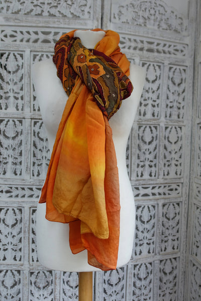Mustard / Khaki Printed Vintage Silk scarf - New - Indian Suit Company