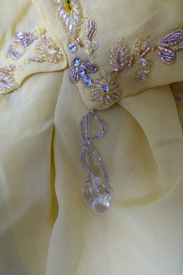 Yellow Silk Chiffon Embellished Scarf - Preloved - Indian Suit Company