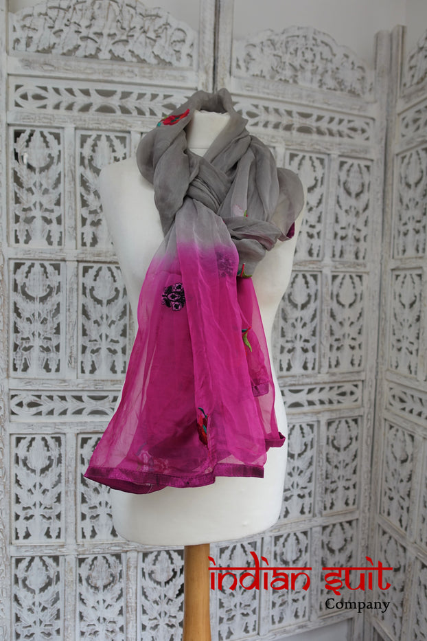 Grey & Pink Chiffon Shawl - New - Indian Suit Company