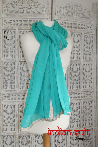 Sea green silk shawl - new - Indian Suit Company