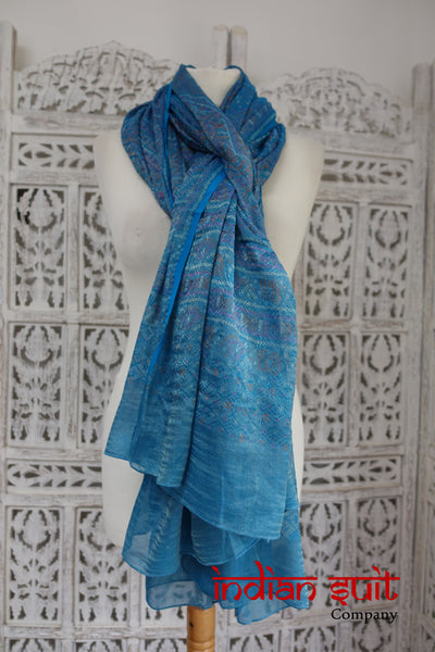 Blue bandhani printed shawl - new - Indian Suit Company
