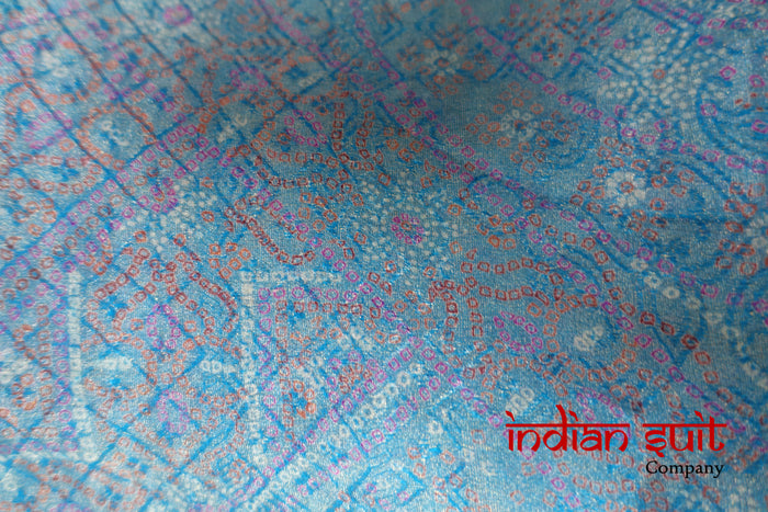 Blue Bandhani Printed Scarf - New - Indian Suit Company