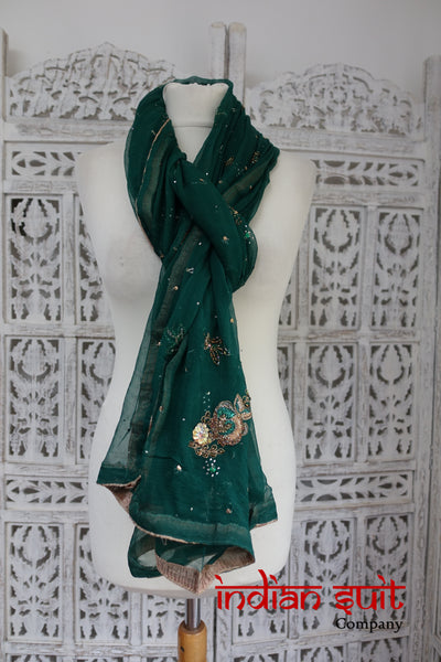 Dark Green Chiffon Embellished Shawl - preloved - Indian Suit Company