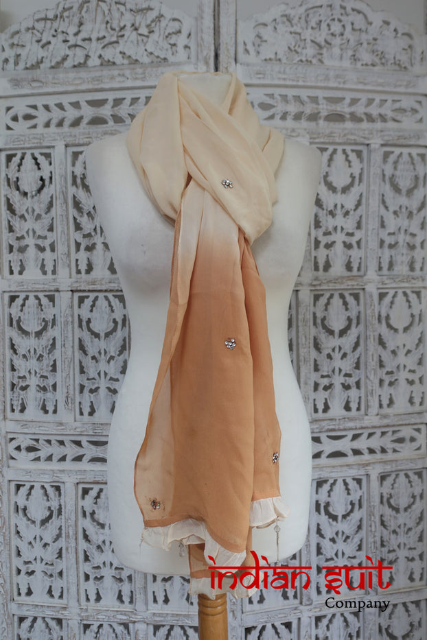 Cream & Caramel Silk Chiffon Scarf - Preloved - Indian Suit Company