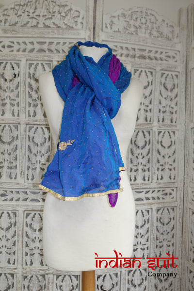 2 Tone Double Silk Chiffon Vintage Shawl - New - Indian Suit Company