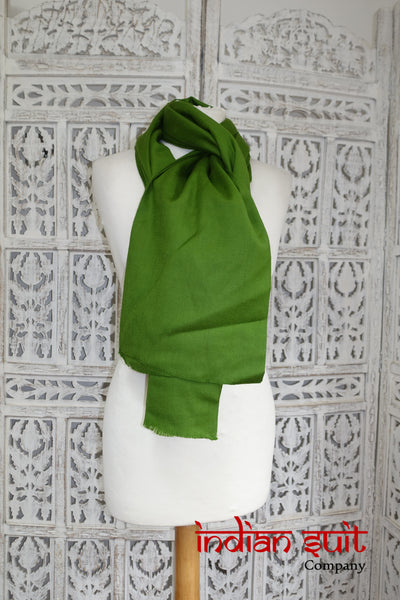 Olive Green Pure Wool Shawl - New - Indian Suit Company