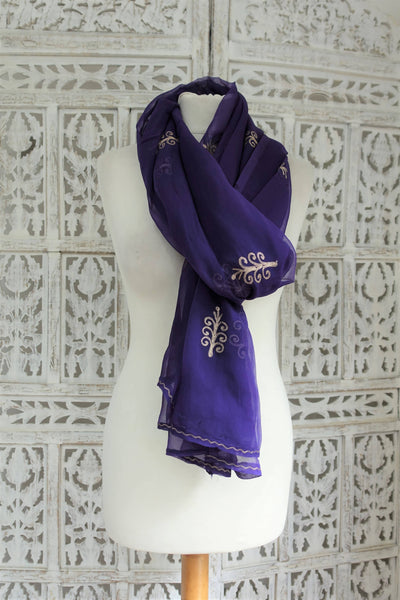 Purple Vintage Embroidered scarf - New - Indian Suit Company