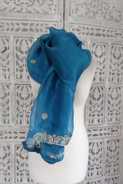 Denim Blue Silk Voile Shawl - Preloved - Indian Suit Company
