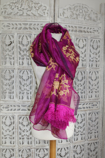 Purple Silk Voile Vintage scarf - New - Indian Suit Company