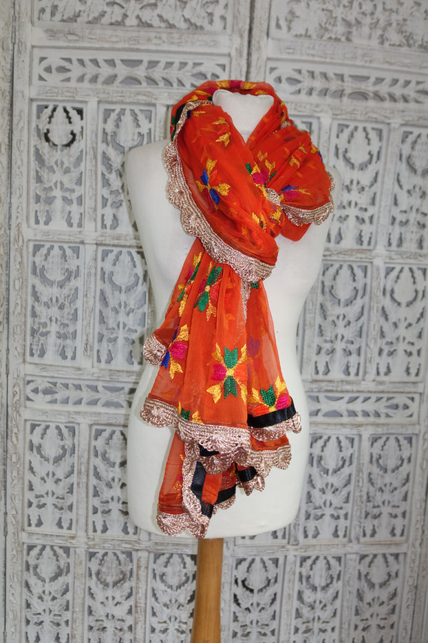 Orange Chiffon Phulkari Scarf - New - Indian Suit Company