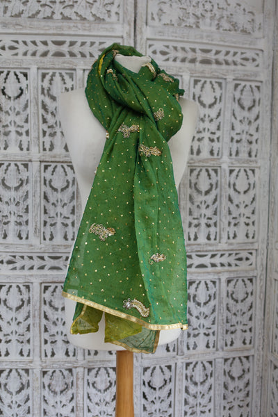 Shades Of Green Double Silk Chiffon Vintage Shawl - New - Indian Suit Company