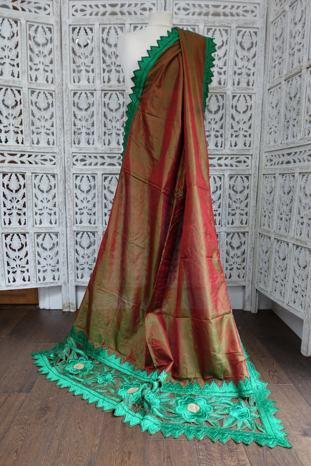 Pure Silk Contrast Red Green Vintage Scarf - New - Indian Suit Company