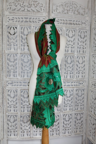Pure Silk Contrast Red Green Vintage Shawl - new - Indian Suit Company