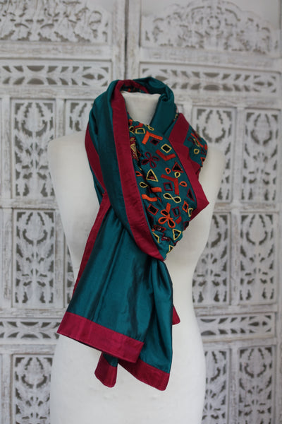 Dark Teal Pure Silk Cutwork Vintage Shawl - New - Indian Suit Company