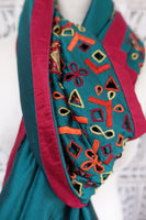 Dark Teal Pure Silk Cutwork Vintage scarf - New - Indian Suit Company