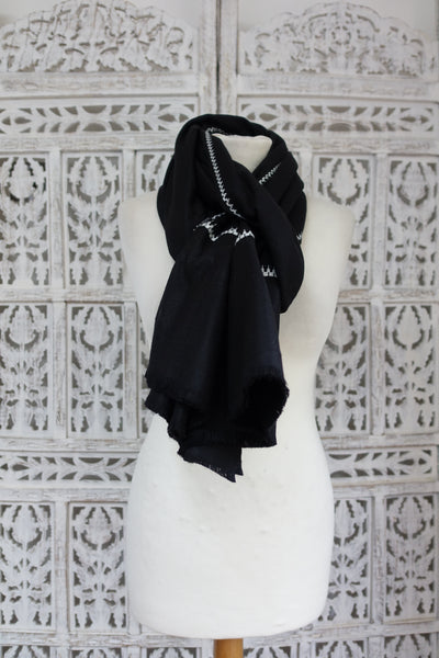 Black Wool With White Embroidery Shawl - New - Indian Suit Company