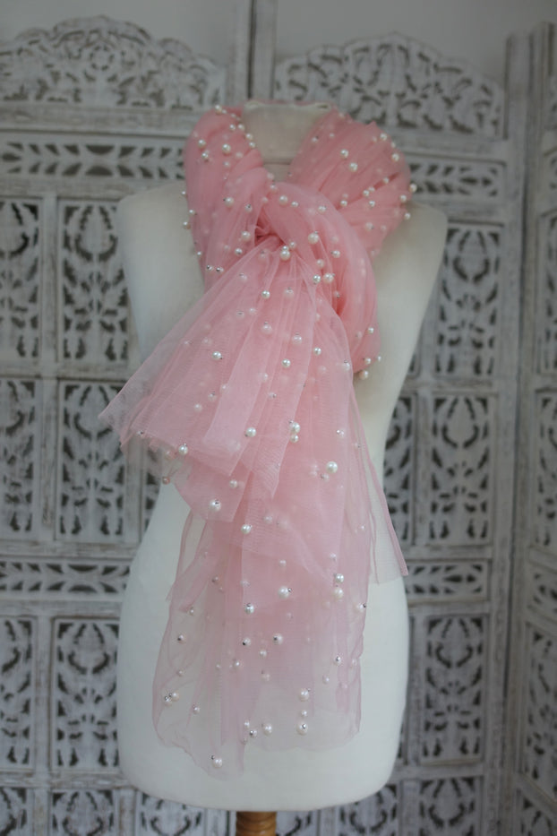 Baby Pink Net With Pearls Sewn On It - New - Indian Suit Company