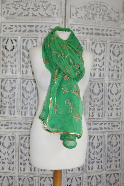 Green Vintage Embellished Shawl - New - Indian Suit Company