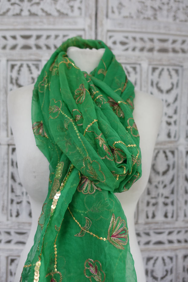 Green Vintage Embellished Scarf - New - Indian Suit Company