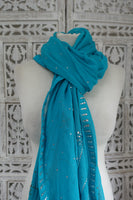 Blue Diamante Trim Large Shawl - Preloved - Indian Suit Company