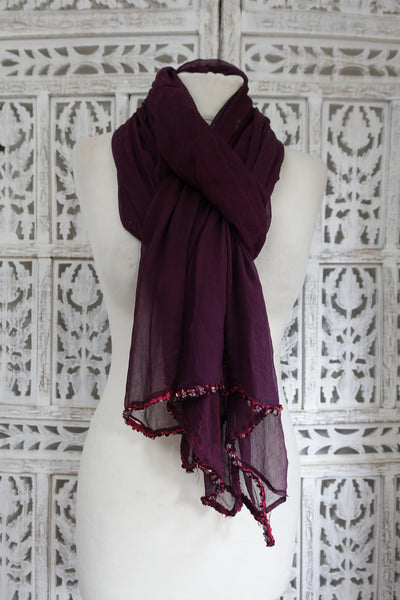 Plum Silk Chiffon With Bead Trim - New - Indian Suit Company