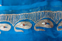 Blue Pure Silk Chiffon Scarf - New - Indian Suit Company